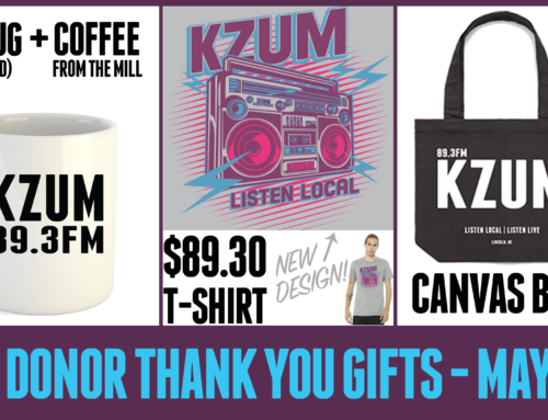 Choose brand new KZUM T-shirt design from among our fund drive thank you gifts!