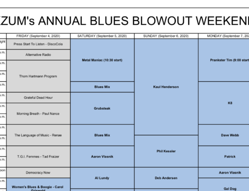 KZUM's Annual Blues Blowout Schedule